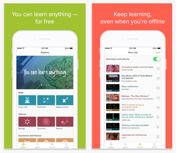 khan academy hybrid learning app
